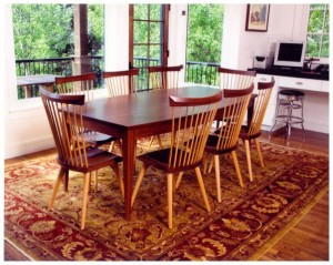 Walnut and white oak table and chairs
