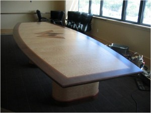 Quilted maple pear and walnut conference table