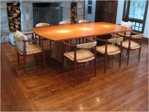 Teak arched tressle dining table