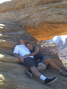 Mesa Arch is one of the most extraordinary arches in the world. Here I am with my best pal.