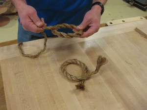 Weaving the rope handles