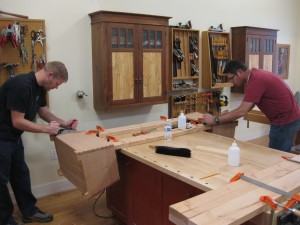 Cleaning up the dovetail joinery after glue up