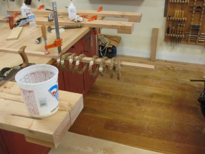 Soaking rope handles in glue