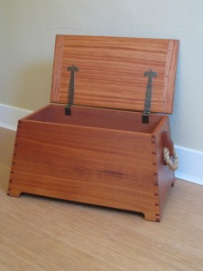 Sea chest with iron strap hinges