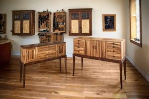 Handmade sideboards by Chris Gochnour (left) and a former student (right)