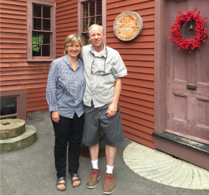 Woodworking partners outside Old Schwamb Mill in Massachusetts