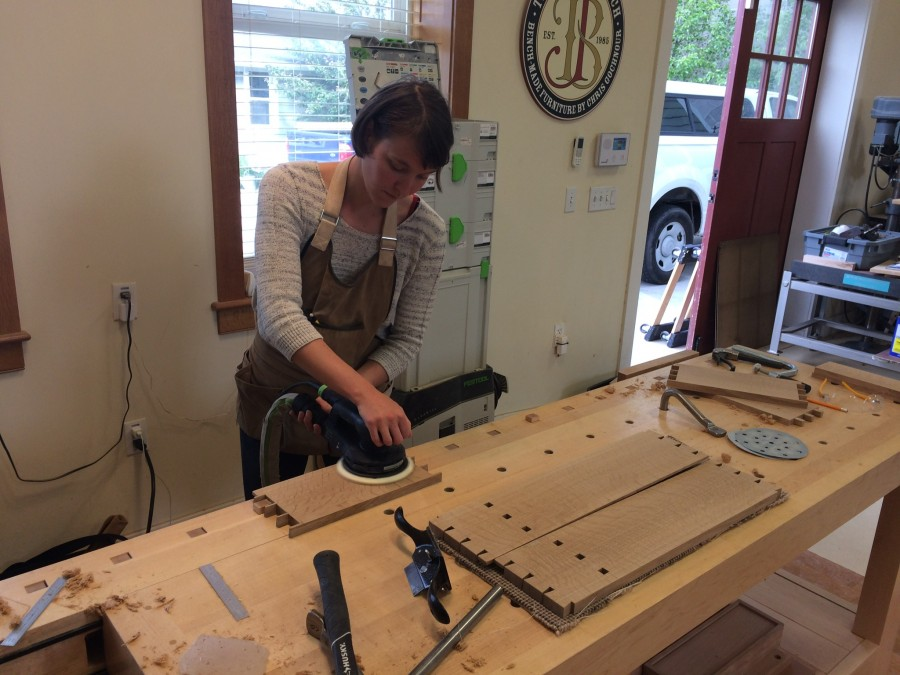 Chantel sanding components for the wall cabinet.