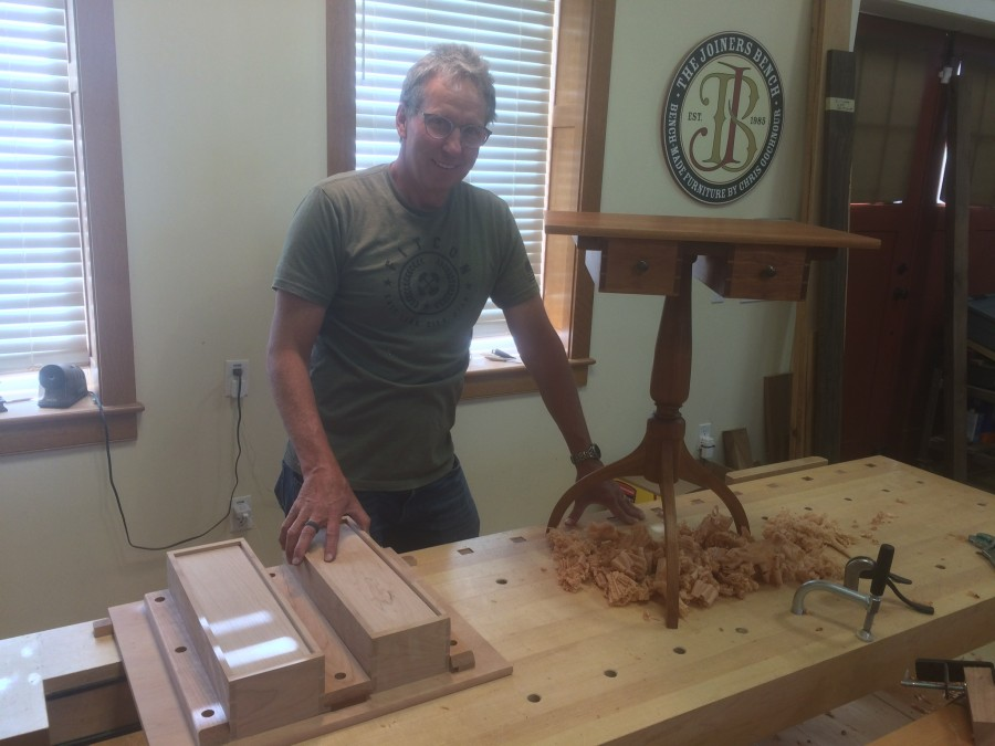 Here is Scott working on his Shaker sewing table.