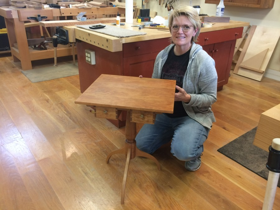 Anj will be part of the summer fun. Here she is with her newly finished Shaker sewing table. This lovely table was a gift for her mother on Mother's Day.