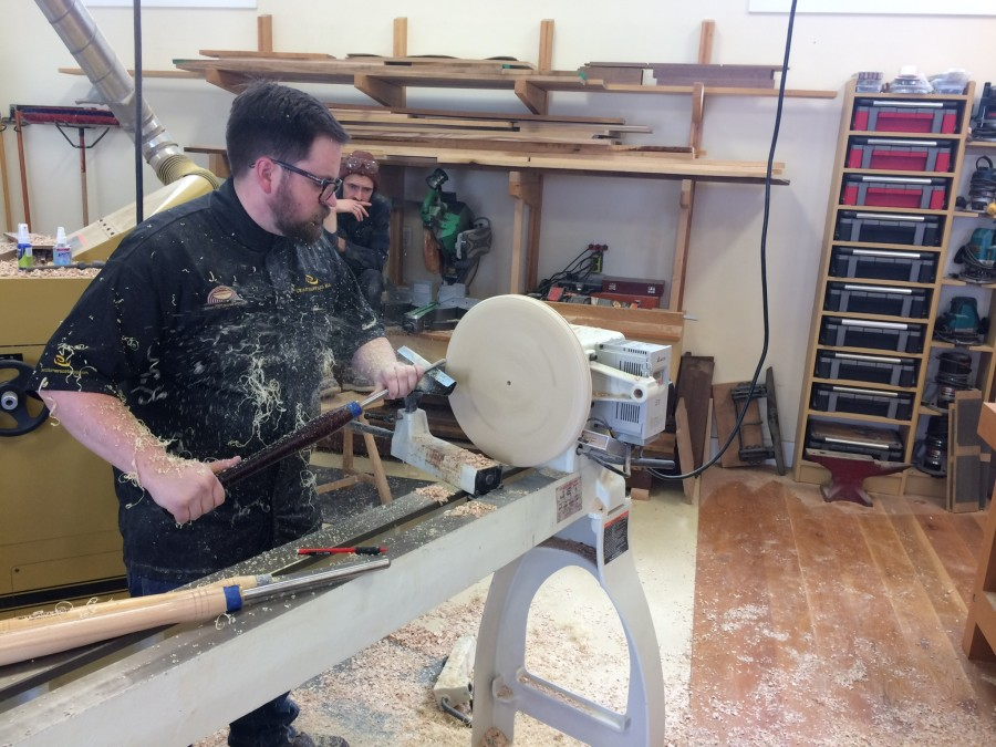 Marcus demonstrating face plate turning of the seat.
